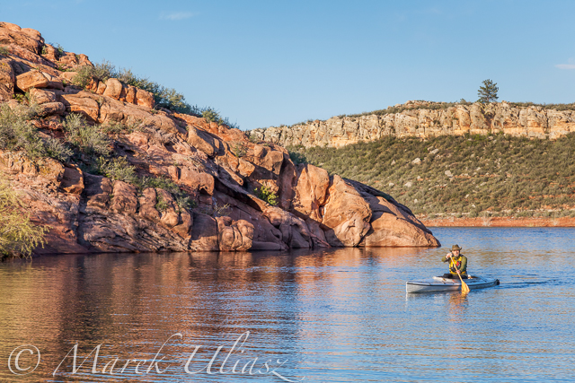 Paddling canoe on Horsetooth Reservoir