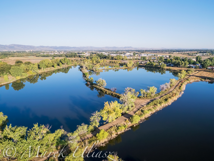 aerial view of lake natural area