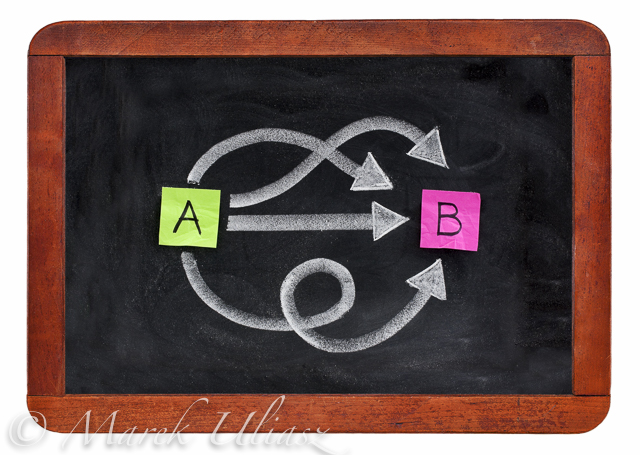 multiple ways for going from A to B, reaching destination or solution - alternatives concept presented with sticky notes, white chalk on vintage blackboard isolated on white